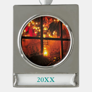 Lantern at Night Silver Plated Banner Ornament
