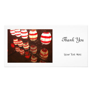 Lantern in the rain photo greeting card