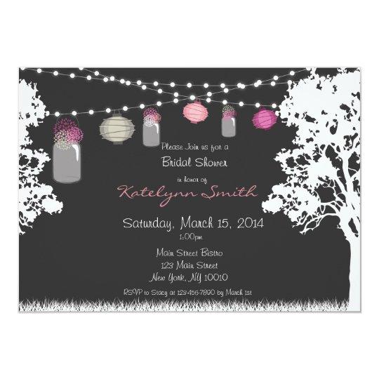 Lantern & Mason Jar Wedding Shower Invitation