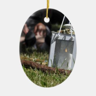 Lantern of light ceramic oval decoration