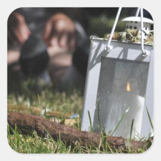 Lantern of light square sticker