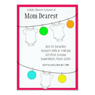 Lanterns and clothesline Baby Shower 13 Cm X 18 Cm Invitation Card