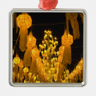 Lanterns for Loi Krathong festival. Silver-Colored Square Decoration