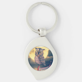 Lanyu Scops Owl with Traditional Canoe Keychain
