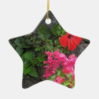 Lanzarote Lava Rock with Flowers Christmas Ornament