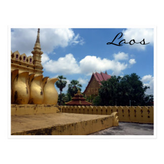 lao golden stupa postcard