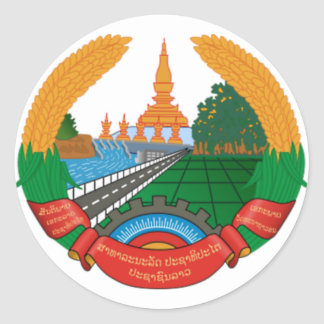 LAO NATIONAL EMBLEM - LAO BADGE CLASSIC ROUND STICKER