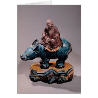 Lao-Tzu  on his Buffalo, Qing dynasty Card