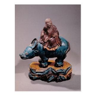 Lao-Tzu  on his Buffalo, Qing dynasty Postcard