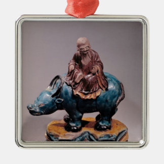 Lao-Tzu  on his Buffalo, Qing dynasty Silver-Colored Square Decoration