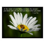 Lao Tzu Quote Ladybug Daisy Inspiration Motivation Poster