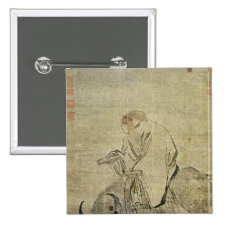 Lao-tzu  riding his ox, Chinese, Ming Dynasty 15 Cm Square Badge