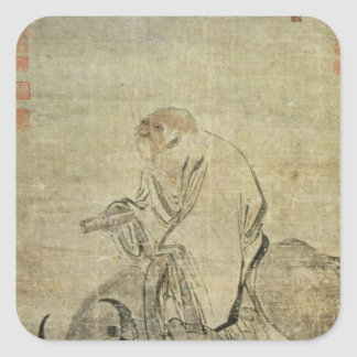 Lao-tzu  riding his ox, Chinese, Ming Dynasty Square Sticker