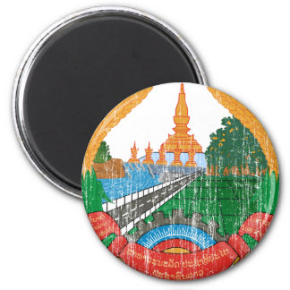 Laos Coat Of Arms 6 Cm Round Magnet