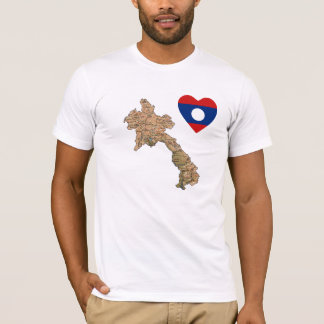 Laos Flag Heart and Map T-Shirt