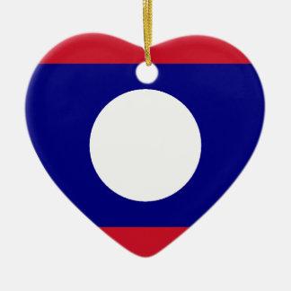 Laos Flag Heart Ornaments