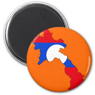 Laos flag map fridge magnet