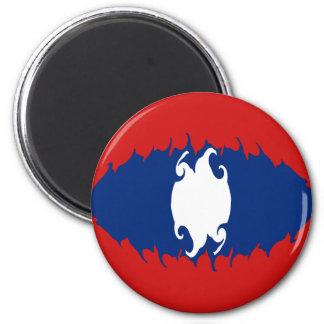 Laos Gnarly Flag 6 Cm Round Magnet