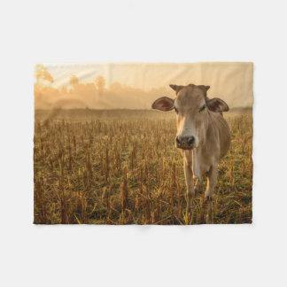 Laos, Vang Vieng. Cow at sunrise Fleece Blanket