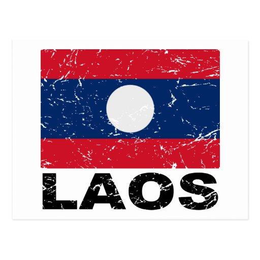 Laos Vintage Flag Post Cards