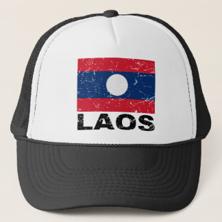 Laos Vintage Flag Trucker Hat