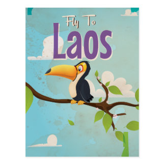 Laos Vintage vacation Poster Postcard