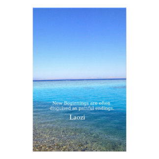Laozi inspirational quote about NEW BEGINNINGS Personalised Stationery