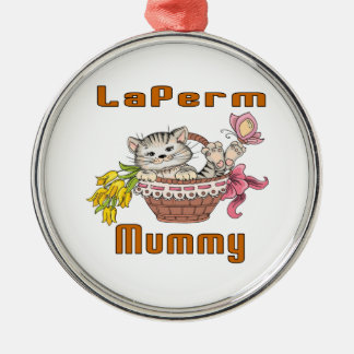 LaPerm Cat Mom Silver-Colored Round Decoration