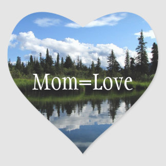 Lapie River Reflection; Happy Mother's Day Heart Sticker