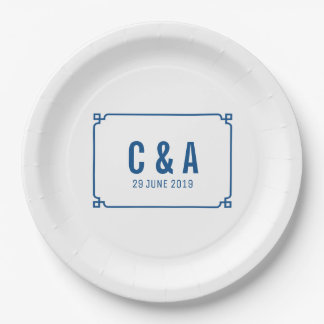 Lapis Blue Deco Chic Wedding 9 Inch Paper Plate