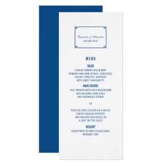 Lapis Blue Deco Chic Wedding Menu Card