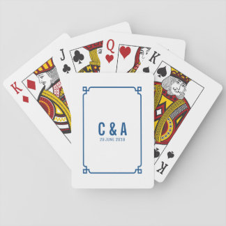 Lapis Blue Deco Chic Wedding Playing Cards
