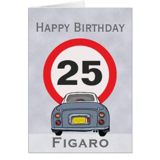 Lapis Grey Figaro Car Happy Birthday Card