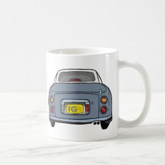 Lapis Grey Nissan Figaro Car Mug, Custom Initials Basic White Mug