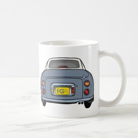 Lapis Grey Nissan Figaro Car Mug, Custom Initials