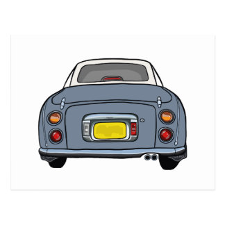Lapis Grey Nissan Figaro Car Postcard