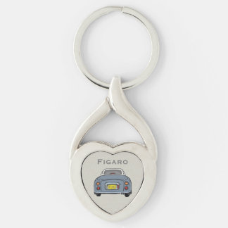 Lapis Grey Nissan Figaro Custom Heart Key Ring Silver-Colored Twisted Heart Key Ring