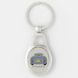 Lapis Grey Nissan Figaro Custom Oval Key Ring Silver-Colored Oval Key Ring