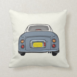 Lapis Grey Nissan Figaro on cream Pillow Cushion