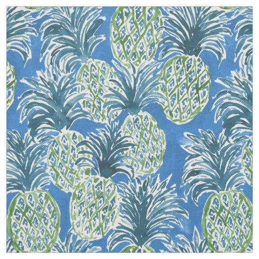 LAPIS PINEAPPLE O'CLOCK Blue Tropical Hawaiian Fabric