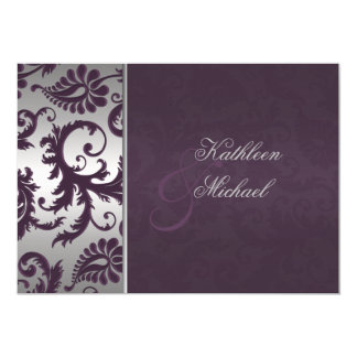 Lapis Purple and Silver Damask Wedding Invitation