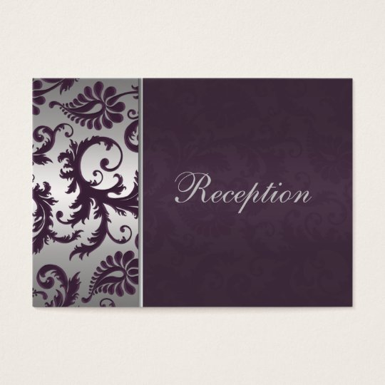 Lapis Purple and Silver Grey Damask Enclosure Card