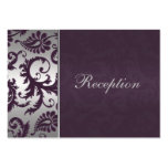 Lapis Purple and Silver Grey Damask Enclosure Card Pack Of Chubby Business Cards