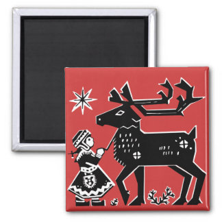 Lapland Girl Holds Reindeer Christmas Magnet