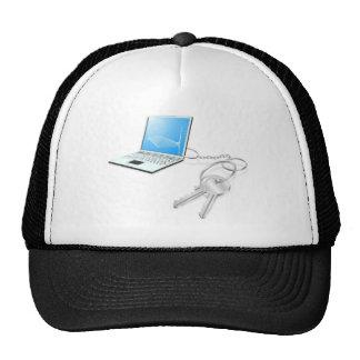 Laptop keys access concept trucker hat