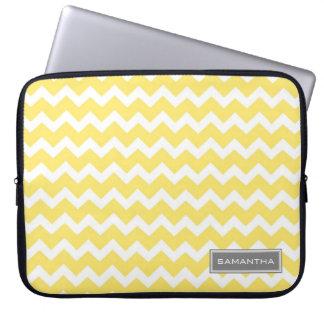 Laptop Lemon Chevron Custom Name Laptop Sleeve