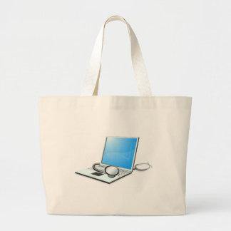 Laptop pc computer health check concept canvas bag