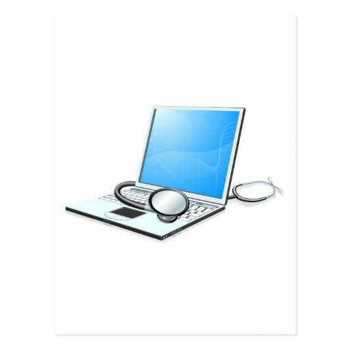 Laptop pc computer health check concept postcards