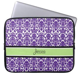 Laptop Purple Damask Custom Name Laptop Sleeve