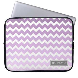 Laptop Purple Ombre Chevron Custom Name Laptop Sleeve